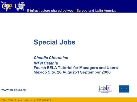 FP62004Infrastructures6-SSA-026409 www.eu-eela.org E-infrastructure shared between Europe and Latin America Special Jobs Claudio Cherubino INFN Catania.