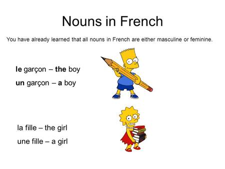 Nouns in French le garçon – the boy un garçon – a boy