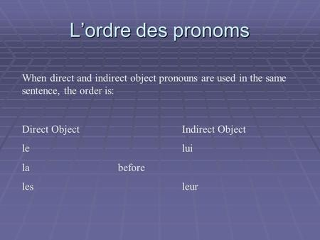 Lordre des pronoms When direct and indirect object pronouns are used in the same sentence, the order is: Direct ObjectIndirect Object lelui la before lesleur.