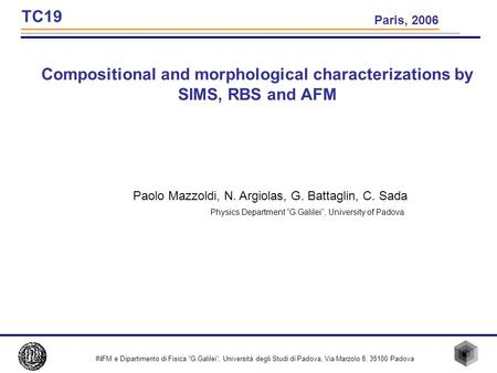 Compositional and morphological characterizations by SIMS, RBS and AFM Paolo Mazzoldi, N. Argiolas, G. Battaglin, C. Sada Physics Department G.Galilei,
