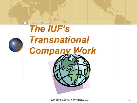 ILO Turin Centre, November, 20031 The IUFs Transnational Company Work.