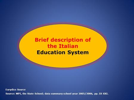 Brief description of the Italian Education System