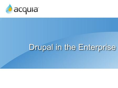 Drupal in the Enterprise