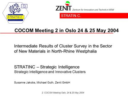 Zentrum für Innovation und Technik in NRW 2. COCOM Meeting Oslo, 24 & 25 May 2004 STRATINC – Strategic Intelligence Strategic Intelligence and Innovative.
