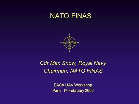 NATO FINAS Cdr Max Snow, Royal Navy Chairman, NATO FINAS