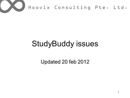 StudyBuddy issues Updated 20 feb 2012 1. Bugs Cookies management Ask question o Title length and question text at least 3 words o allow repeated question.