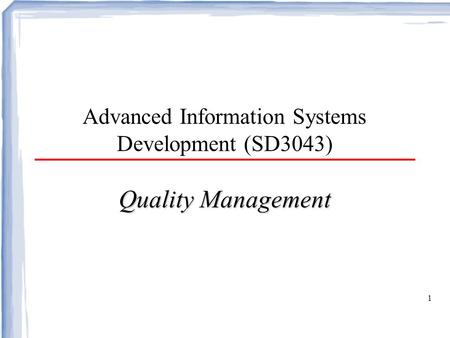 Advanced Information Systems Development (SD3043)