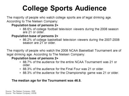 College Sports Audience The majority of people who watch college sports are of legal drinking age. According to The Nielsen Company: Population base of.