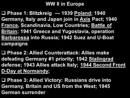 WW II in Europe Phase 1: Blitzkreig --- 1939 Poland; 1940 Germany, Italy and Japan join in Axis Pact; 1940 France, Scandinavia, Low Countries; Battle.