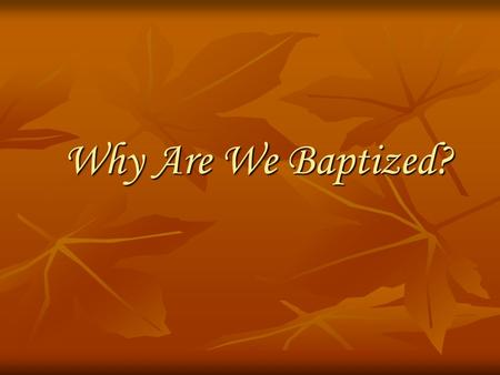 Why Are We Baptized?.