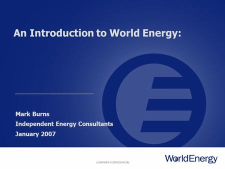 An Introduction to World Energy:
