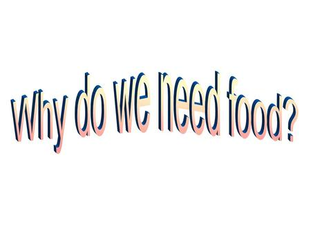 Why do we need food?.