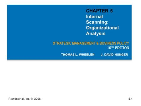 CHAPTER 5 Internal Scanning: Organizational Analysis