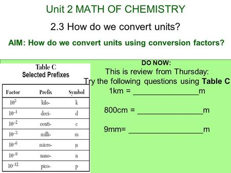 AIM: How do we convert units using conversion factors?