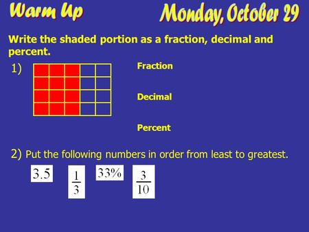 1) Fraction Decimal Percent 2) Put the following numbers in order from least to greatest. Write the shaded portion as a fraction, decimal and percent.