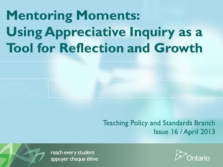 Using Appreciative Inquiry as a Tool for Reflection and Growth