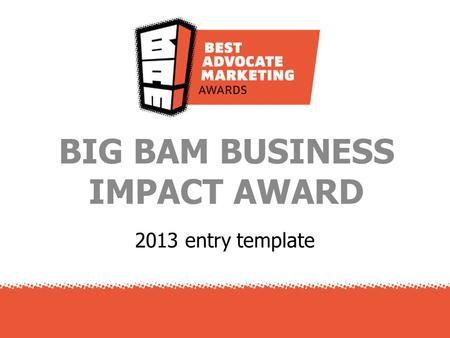 2013 entry template BIG BAM BUSINESS IMPACT AWARD.