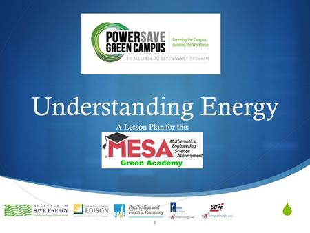 Understanding Energy A Lesson Plan for the: Objectives: