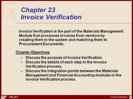 Chapter 23 Invoice Verification