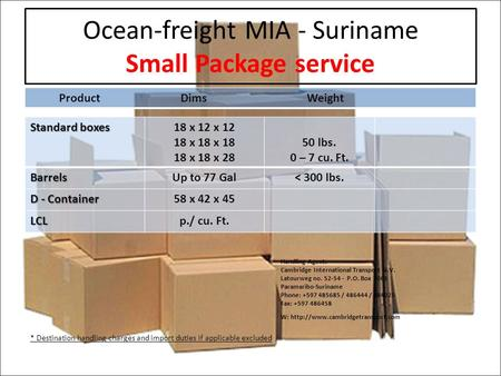Ocean-freight MIA - Suriname Small Package service ProductDims Weight Standard boxes 18 x 12 x 12 18 x 18 x 18 18 x 18 x 28 50 lbs. 0 – 7 cu. Ft.BarrelsUp.