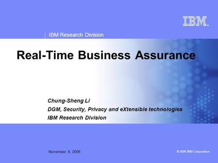 Real-Time Business Assurance