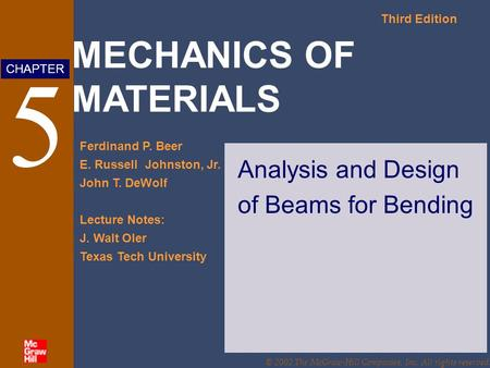 Analysis and Design of Beams for Bending