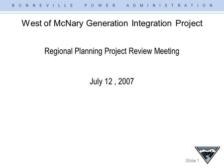 West of McNary Generation Integration Project
