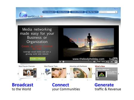 Broadcast Connect Generate to the Worldyour Communities traffic & Revenue.
