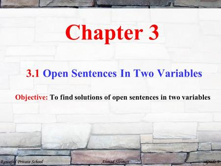 3.1 Open Sentences In Two Variables