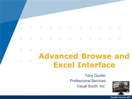 Visualize Success 2011 Tony Gunter Professional Services Visual South, Inc. Advanced Browse and Excel Interface.
