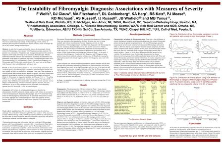 The Instability of Fibromyalgia Diagnosis: Associations with Measures of Severity  F Wolfe1, DJ Clauw2, MA Fitzcharles3, DL Goldenberg4, KA Harp1, RS Katz5,