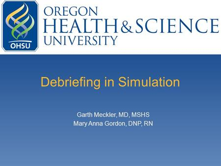 Debriefing in Simulation