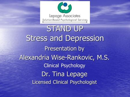 STAND UP Stress and Depression