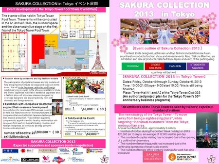 Event outline of Sakura Collection 2013 SAKURA COLLECTION 2013 in Tokyo Tower Dates: Friday, October 4 through Sunday, October 6, 2013 Time: 10:00-21:00.