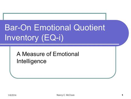 Bar-On Emotional Quotient Inventory (EQ-i)