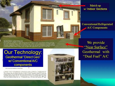 Conventional Refrigerated A/C Components Match up w/ Indoor Sections We provide Near Surface Geothermal with Dual Fuel A/C Our Technology: Geothermal Direct.