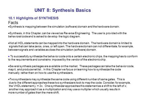 UNIT 8: Synthesis Basics
