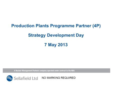 Production Plants Programme Partner (4P) Strategy Development Day 7 May 2013 NO MARKING REQUIRED.
