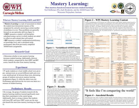 Mastery Learning is a style of assessment in which the student must demonstrate mastery of the assignment by correctly answering a certain number of problems.