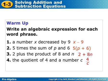 1-3 Solving Addition and Subtraction Equations Warm Up
