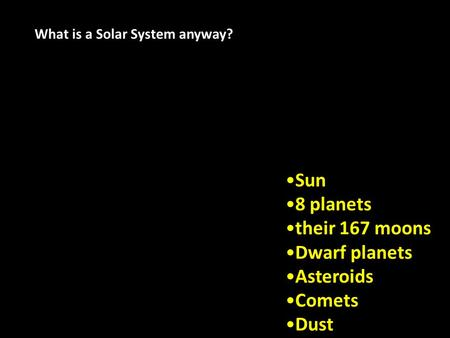 Copyright © 2012 InteractiveScienceLessons.com Sun 8 planets their 167 moons Dwarf planets Asteroids Comets Dust What is a Solar System anyway?