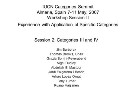 IUCN Categories Summit Almeria, Spain 7-11 May, 2007 Workshop Session II Experience with Application of Specific Categories Session 2: Categories III and.