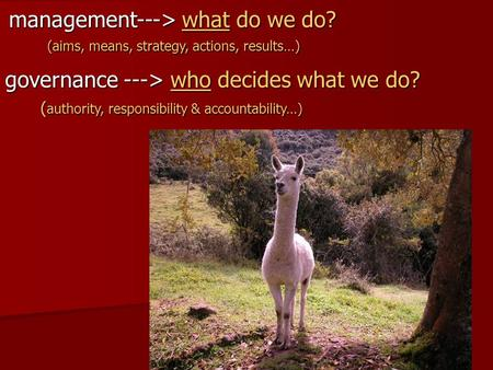 Management---> what do we do? (aims, means, strategy, actions, results…) governance ---> who decides what we do? ( authority, responsibility & accountability…)