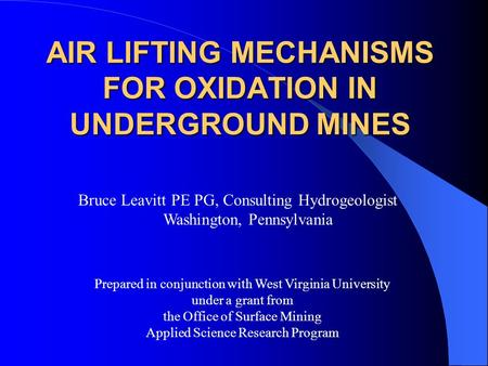 air lifting mechanisms for oxidation in underground mines