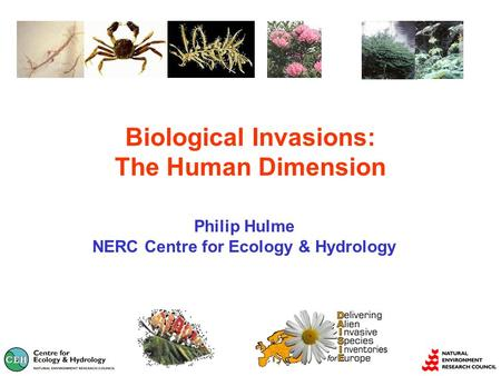 Biological Invasions: The Human Dimension Philip Hulme NERC Centre for Ecology & Hydrology.
