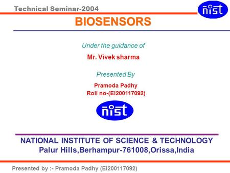 BIOSENSORS NATIONAL INSTITUTE OF SCIENCE & TECHNOLOGY