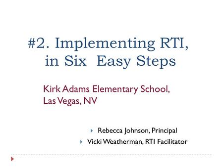 #2. Implementing RTI, in Six Easy Steps