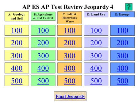 AP ES AP Test Review Jeopardy 4 100 200 300 400 500 100 200 300 400 500 100 200 300 400 500 100 200 300 400 500 100 200 300 400 500 A: Geology and Soil.