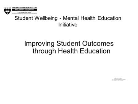 Student Wellbeing - Mental Health Education Initiative