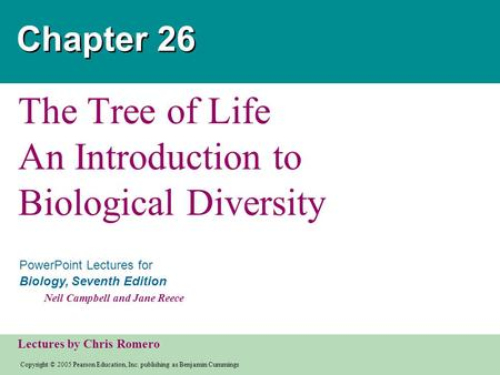 The Tree of Life An Introduction to Biological Diversity